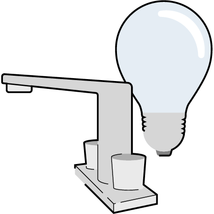 water faucet and lightbulb