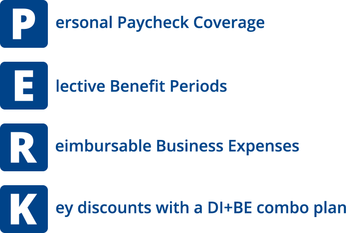 personal paycheck coverage, elective benefit period, reimbursable business expenses, key discounts with a DI+BE combo plan
