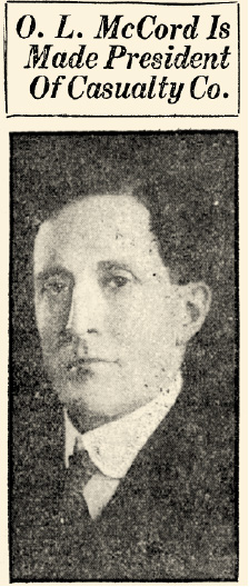 Newspaper clipping from the announcement of O.L. McCord as President of Illinois Mutual  Casualty Company.