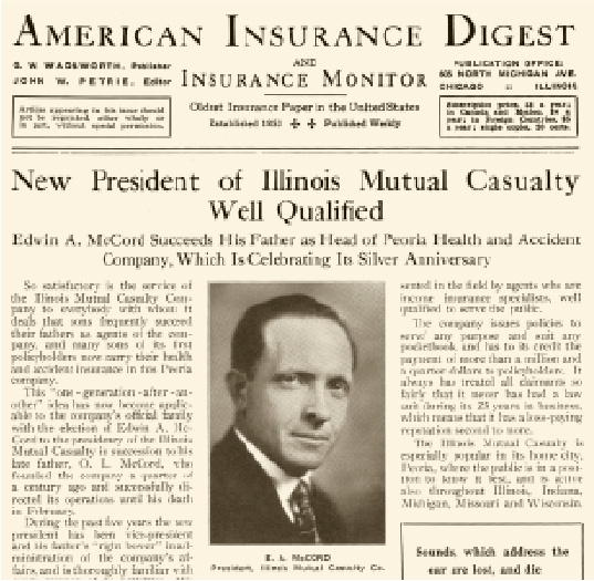 Newspaper article announcing E.A. McCord as President of Illinois Mutual Casualty Company.