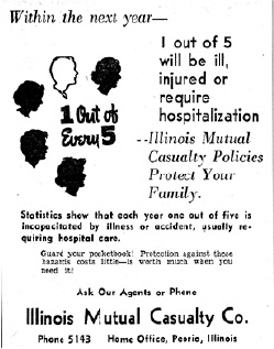 Advertisement for Disability Income Insurance offered by Illinois Mutual Casualty Company.