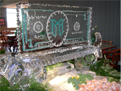 An ice sculpture representing Illinois Mutual's one-billionth dollar in celebration of exceeding $1 billion in admitted assets.