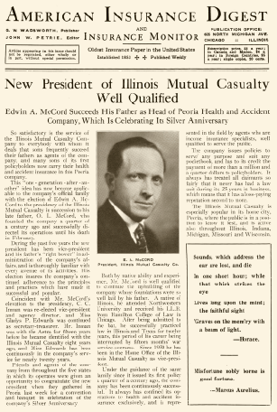 Newspaper article annoucing E.A. McCord as president