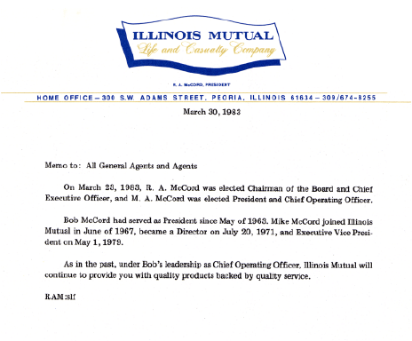 Memo announcing M.A. McCord becoming president