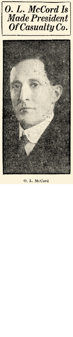 Article announcing O.L. McCord as president